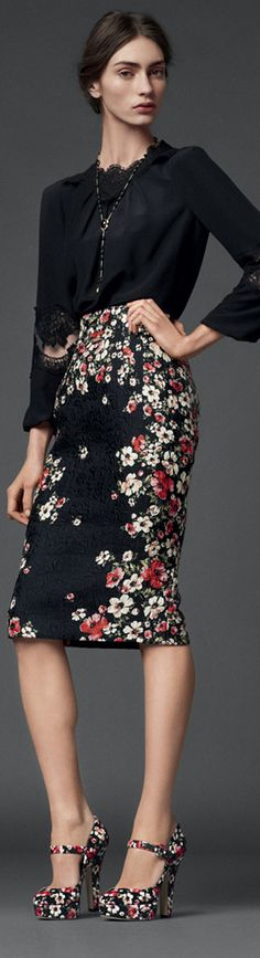 Dolce & Gabbana FW 2014 / black blouse / floral print skirt / floral shoes...I would preferred with red or green shoes