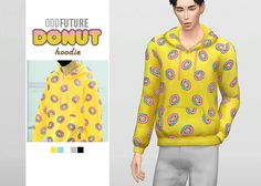 Odd Future Donut Hoodie • New mesh / EA mesh edit • Category: top (men) • Age: teen / young adult / adult / elder • 5 swatches • Suggested by @reallilacsimmer Download: SimFileShare