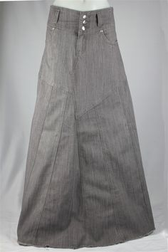 Stunning In Gray Long Jean Skirt, Sizes 6-18: theskirtoutlet.com