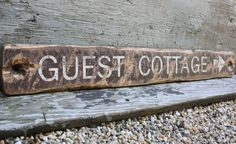 Guest Cottage Directional Rustic Distressed Wood Guest House Room sign by TheUnpolishedBarn