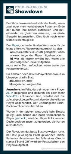 Poker Regeln erklärt Showdown Game