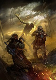 Stalkers are ferried by swimming through the swamp . Art of by Alexander Rudenko Art Apocalypse, Apocalypse World, Apocalypse Survival, Post Apocalyptic Art, Post Apocalyptic Fashion, Arte Horror, Horror Art, Cthulhu, Roadside Picnic