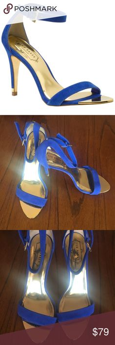 Ted Baker Juliennas High Heel Sandal in Blue Sz39 Beautiful blue suede heeled Juliennas sandal from Ted Baker London. Good used condition. They were only worn a few times and look amazing on. Please see photos for signs of wear. Size 39. Ted Baker London Shoes Heels