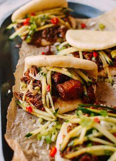Instant Pot Braised Pork Buns are a revelation. Fall-apart pork shoulder comes together quickly in an Instant Pot, and it's served in a fluffy steamed bun. Braised Pork Shoulder, Braised Pork Belly, Pork Belly Recipes, Beef Recipes, Healthy Recipes, Copycat Recipes, Delicious Recipes, Asian Chicken Recipes, Asian Recipes