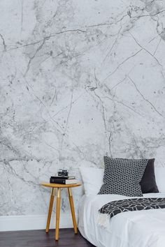 Minimal Interior Design with Marble Wallpaper