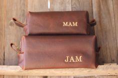 HANDMADE Men's Leather Toiletry Case Dopp Kit Shaving Bag OOAK Groomsmen Present Groomsman Gift Wedding Groom Lifetime Leather Co Cognac Bag by inputfrag on Etsy