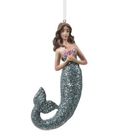 Make a beautiful coastal statement on your Christmas tree with this lovely mermaid ornament. Add her as part of your beachy decor or give her to a mermaid collector friend or family member! Mermaid Ornament, Mermaid Gifts, Prom Dresses, Formal Dresses, Statues, Shells, Objects, Christmas Tree, Sea