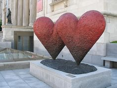 ♥ Jim Dine (1935- ), Twin 6' Hearts ♥