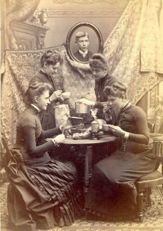 Photograph of ladies at tea, from the collection of the Chemung County Historical Society. I love the goofy guy in the background pretending to be a portrait. Victorian Life, Victorian Photos, Victorian Women, Antique Photos, Vintage Pictures, Vintage Photographs, Old Pictures, Vintage Images, Old Photos