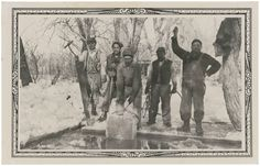 """Native American men cut large blocks of ice from a frozen lake"" (ca. 1935) During the 19th century, harvesting, storing, and shipping ice for food preservation was an important trade. By the mid 1930s, mechanical refrigeration was on the verge of eliminating the industry."