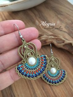 Micro macrame earrings with SWAROVSKI pearl