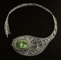 Necklace | Lena Franolić.  Silver wire, labradorite