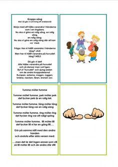 Sångkort om kroppen. Preschool Classroom, Preschool Crafts, Pre School, Back To School, Learn Swedish, Swedish Language, Montessori, Singing, Teacher