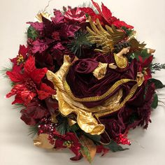 Miss Haberdash Christmas wreath with angel. Wreath Crafts, How To Make Wreaths, Xmas Ideas, Floral Arrangements, Florals, Christmas Wreaths, Floral, Christmas Swags, Flower Arrangements