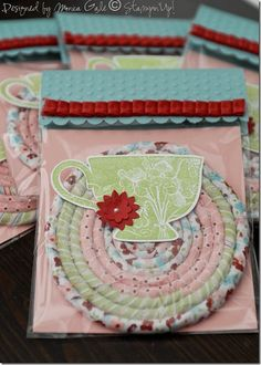By Monica Gale....coasters made from SU Twitterpated fabric. So clever!! Stampin up