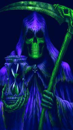 Our smaller sized Diamond Painting Kits are specially des Grim Reaper Art, Grim Reaper Tattoo, Don't Fear The Reaper, Dark Fantasy Art, Dark Art, Female Monster, Skull Wallpaper, Beast Wallpaper, Ghost Rider