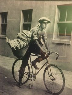 A grandfather, then young man, delivering newspapers in San Francisco, CA in the 1920's.