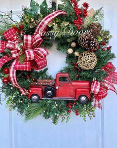 Christmas Wreath Red Truck Christmas Wreath Rustic Christmas