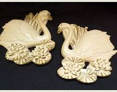 Miller Studio Chalkware chalk ware SWANS Unusual shape Wall Plaque set Ivory/Gold 1987 Vintage Retro Kitsch for the bathroom
