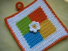 Four Square Crochet Potholder Pattern - FREE  Someday I would like to learn to crochet