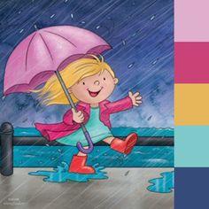 30 de abril, día del niño, niña saltando entre la lluvia