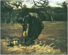 Peasant Woman Digging Up Potatoes - Vincent van Gogh - 1885