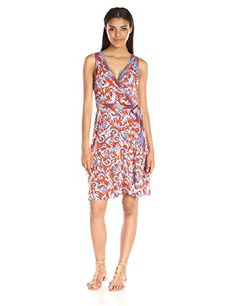 BCBGMax Azria Womens Hallee Sleeveless Wrap Dress Saffron Combo Small >>> Read more reviews of the product by visiting the link on the image.