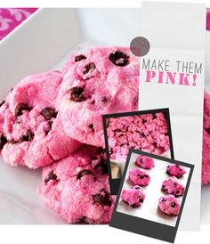 Pink Chocolate Chip Cookies. So awesome! Need to remember this for Valentine's Day