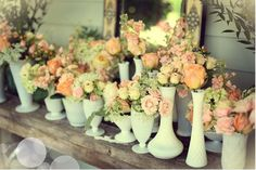 Love the mix/match, variety of shapes & sizes of these hobnail milk glass vases. The flowers are so soft and beautiful, and work well with the vintage, classy look of the milk glasses.