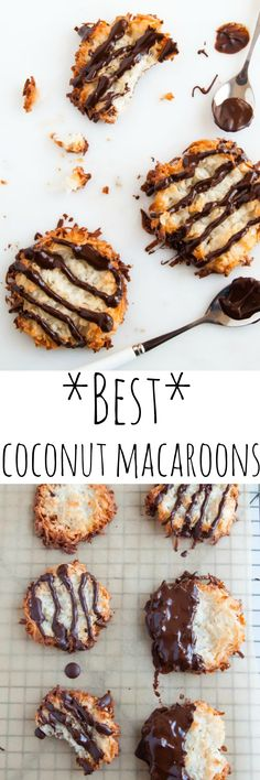 Smash your coconut macaroons for maximize toasted coconut bits! Drizzle them with chocolate for maximum YUM- seemed good for the coconut lovers Cookie Desserts, Easy Desserts, Cookie Recipes, Delicious Desserts, Dessert Recipes, Yummy Food, Cookie Ideas, Yummy Treats, Sweet Treats