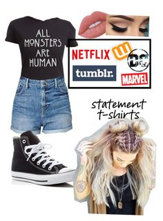 """""""Statement T-shirt"""" by klinneao on Polyvore featuring Hot Topic, Lime Crime, Converse and Marvel"""