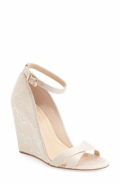 maybe for wedding shoes? Imagine Vince Camuto 'Imagine - Lilo' Lace Wedge Sandal (Women) available at Wedding Wedges, Wedge Wedding Shoes, Lace Wedding, Trendy Wedding, Bridal Shoes Wedges, Sandals Wedding, Spring Wedding, Wedding Ideas, Bride Shoes