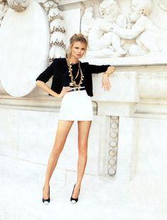 CHANEL Little Black Jacket + Black Sweater + White Mini Skirt + B High Heels