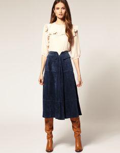 ASOS Premium Suede Midi Skirt