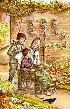 The Secret Garden - Tasha Tudor Artist.one of my childhood favorites.didn't realize TashaTudor was the illustrator The Secret Garden, Diy Garden, Garden Art, Garden Ideas, Tudor, Library Of America, Garden Pictures, Children's Book Illustration, Book Illustrations