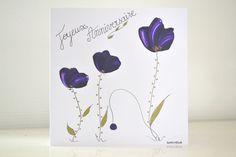 carte romantique anniversaire peinte, carte joyeux anniversaire fleurs mauves : Cartes par antonella-creation