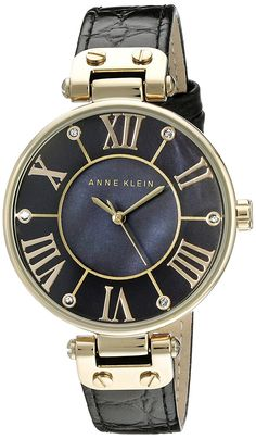Anne Klein Women's AK/1396BMBK Gold-Tone Black Mother-Of-Pearl Dial Leather Dress Watch *** Check out this great watch.