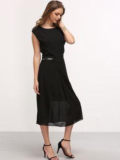 Vestido hebilla de la cintura gasa -negro-Spanish SheIn(Sheinside)