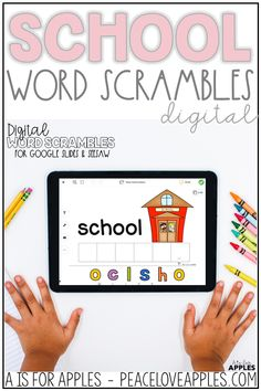 Practice spelling and learn school-themed vocabulary with these digital, paperless word scrambles. These can be used on Google Slides and the Seesaw app.