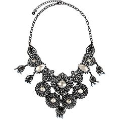Lydell Nyc Filigree & Crystal Statement Bib Necklace (£26) ❤ liked on Polyvore featuring jewelry, necklaces, black, charm necklaces, bib statement necklace, statement necklaces, bib necklace and crystal charm necklace