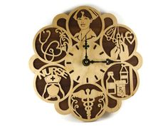 Nurse RN Themed Wood Wall Hanging Clock Handmade By by KevsKrafts