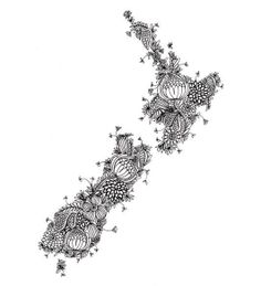 black detailed pattern New Zealand Fine Art by cloudninecreative -- would be neat to see one with more fiddle head ferns