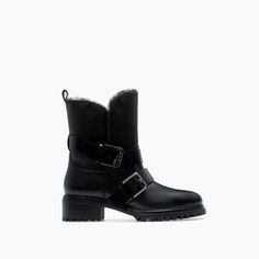 Zara biker boots with fur