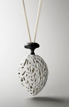 Eunju Park Necklace: Fill, 2007 925 silver, enamel, silk thread 48 x 580 x 25 mm