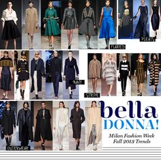 Milan's 2013 Fashion Week also showed the deep rich tones and colours for this season as a strong trend. Overcoats, belted waists to accent small waists and feminine, flowing silhouettes were huge in their runways shows. Touches of stripe patterns emerged too.
