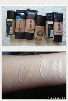 Best Foundation from Drugstore  warm olive skin from oily skin. Maybelline Fit Me Matte Poreless, Infallible Pro Glow, L'Oréal Infallible Pro Matte, Wet n wild Photofocus