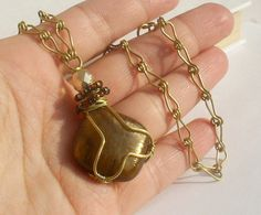 Brown brass necklace golden brass jewelry by VeraNasfaJewelry