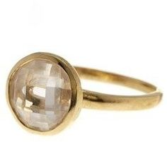ADORNIA Round Shaped Stone Ring Yellow Gold Plated Silver With Swarovski Crystal.
