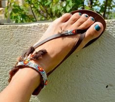 BOHO Genuine leather sandals handmade decorated multicolored, beaded with tassels You can decorate your hands, ears, neck- but also … your foot!