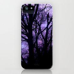 iphone 5 Case, Hard Plastic Case, Purple, Black,  Halloween, Stars, Woodland, Trees. $44.00, via Etsy.
